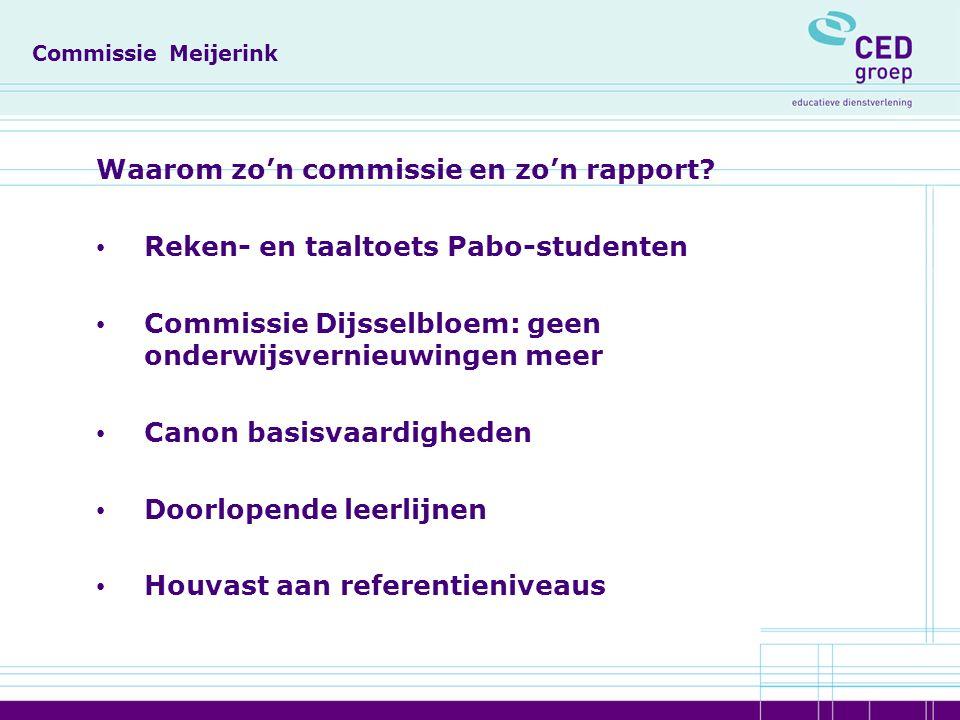 Commissie Meijerink Waarom zo'n commissie en zo'n rapport.