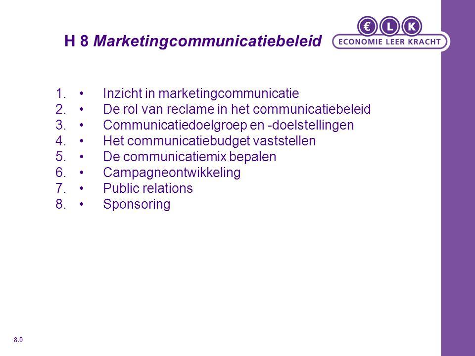 H 8 Marketingcommunicatiebeleid 1.Inzicht in marketingcommunicatie 2.De rol van reclame in het communicatiebeleid 3.Communicatiedoelgroep en -doelstellingen 4.Het communicatiebudget vaststellen 5.De communicatiemix bepalen 6.Campagneontwikkeling 7.Public relations 8.Sponsoring 8.0