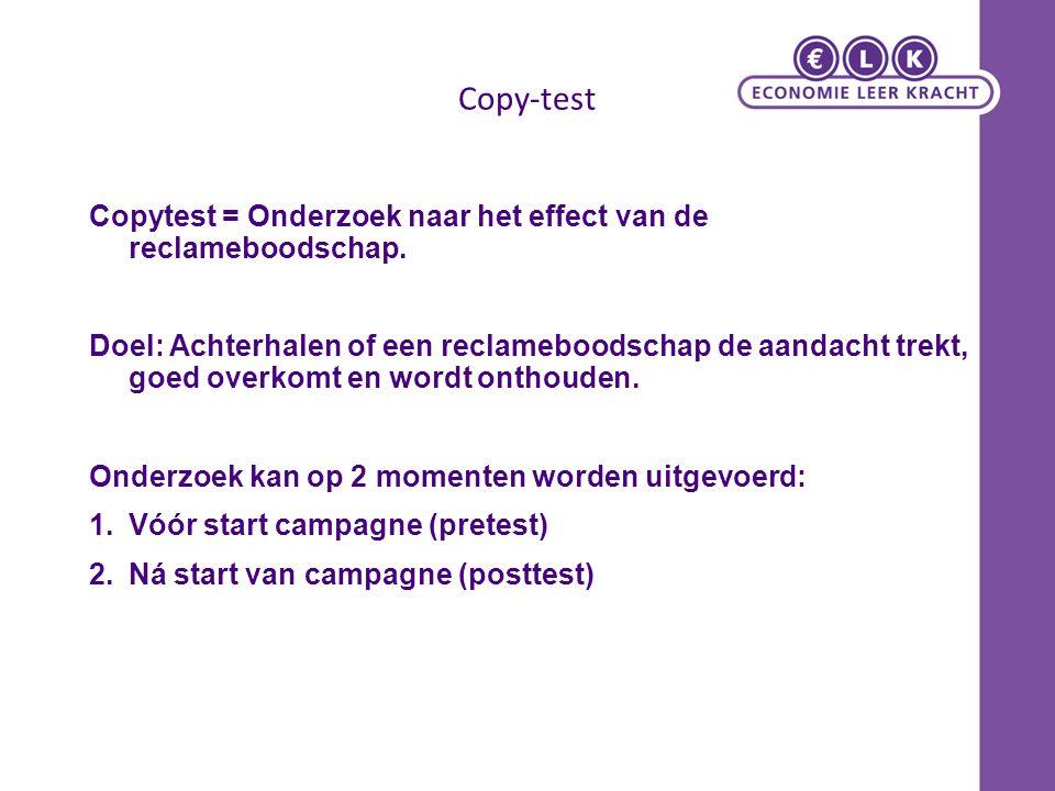 Copy-test Copytest = Onderzoek naar het effect van de reclameboodschap.