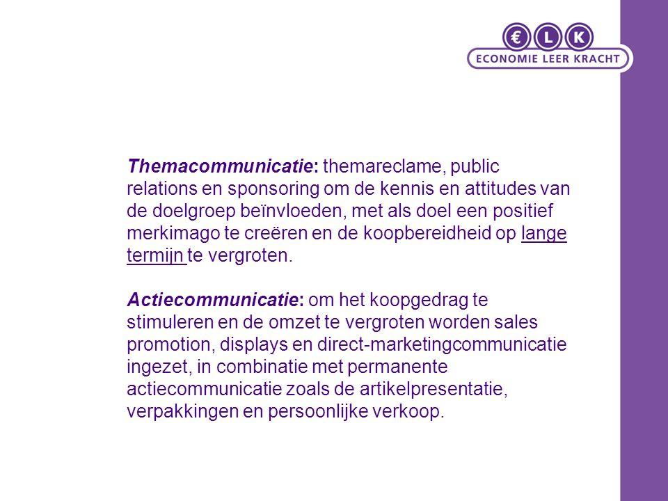Themacommunicatie: themareclame, public relations en sponsoring om de kennis en attitudes van de doelgroep beïnvloeden, met als doel een positief merkimago te creëren en de koopbereidheid op lange termijn te vergroten.