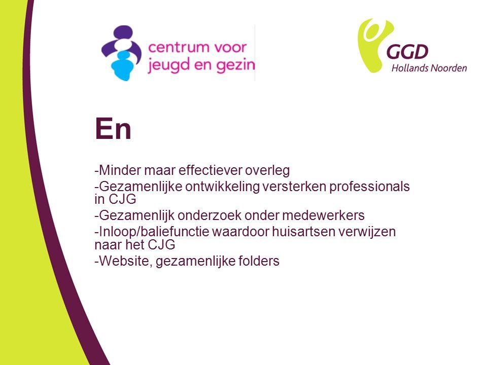 En -Minder maar effectiever overleg -Gezamenlijke ontwikkeling versterken professionals in CJG -Gezamenlijk onderzoek onder medewerkers -Inloop/balief