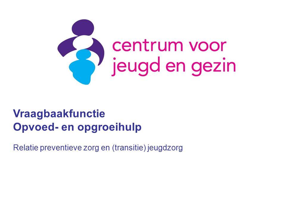 Vraagbaakfunctie Opvoed- en opgroeihulp Relatie preventieve zorg en (transitie) jeugdzorg