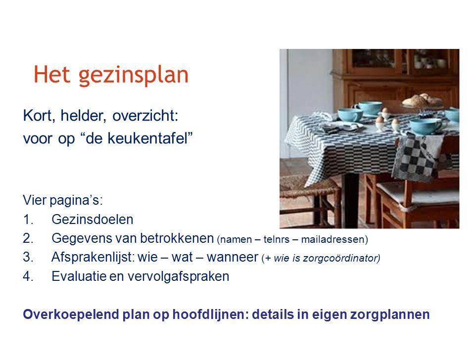 Het gezinsplan Kort, helder, overzicht: voor op de keukentafel Vier pagina's: 1.Gezinsdoelen 2.Gegevens van betrokkenen (namen – telnrs – mailadressen) 3.Afsprakenlijst: wie – wat – wanneer (+ wie is zorgcoördinator) 4.Evaluatie en vervolgafspraken Overkoepelend plan op hoofdlijnen: details in eigen zorgplannen 1GEZIN1PLAN1GEZIN1PLAN