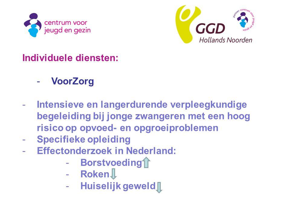 Individuele diensten: -VoorZorg -Intensieve en langerdurende verpleegkundige begeleiding bij jonge zwangeren met een hoog risico op opvoed- en opgroeiproblemen -Specifieke opleiding -Effectonderzoek in Nederland: -Borstvoeding -Roken -Huiselijk geweld