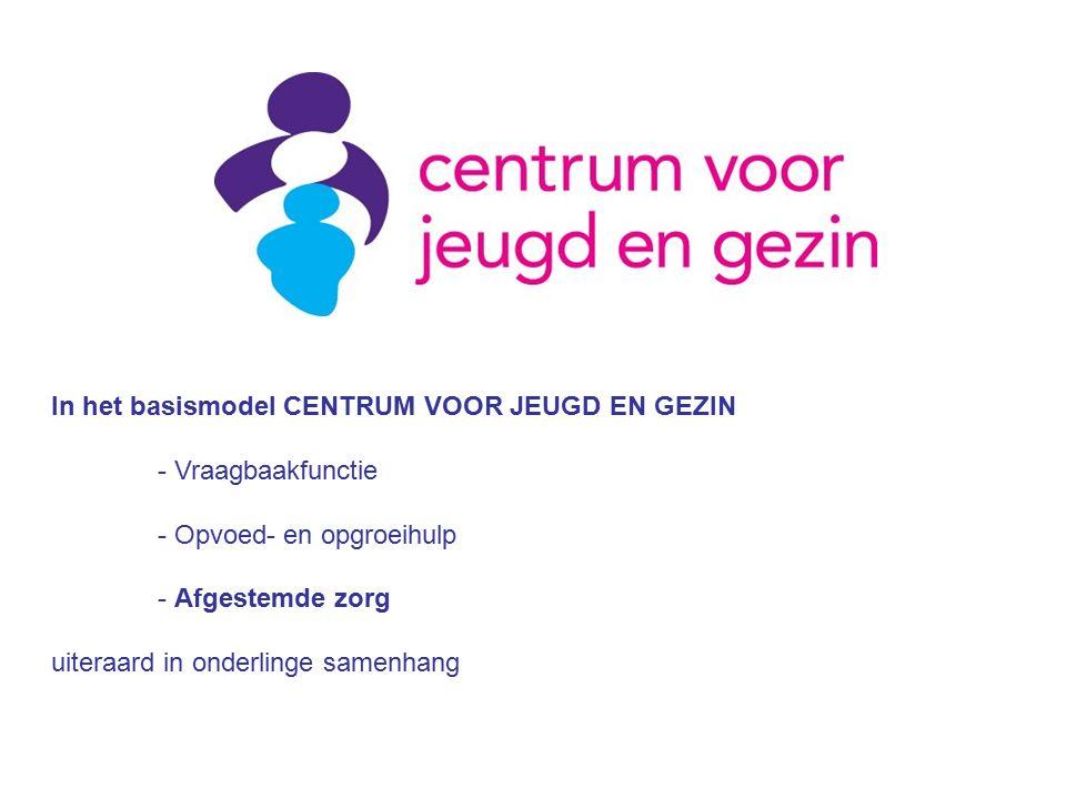 Individuele diensten: -Regelmatige actieve benadering van ouders/jeugdigen (uniforme contactmomenten) -des te frequenter naarmate het kind jonger is -Huisbezoek bij de intake -Opvoed- en opgroei ondersteuning, zowel op vraag van ouders/jeugdigen als actieve signalering -Opbouwen van contact, relatie en vertrouwen -Inzicht in de thuis- en gezinssituatie