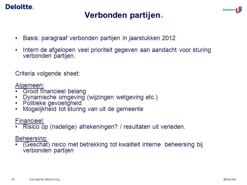 ©Deloitte Verbonden partijen. 40 Basis: paragraaf verbonden partijen in jaarstukken 2012 Intern de afgelopen veel prioriteit gegeven aan aandacht voor