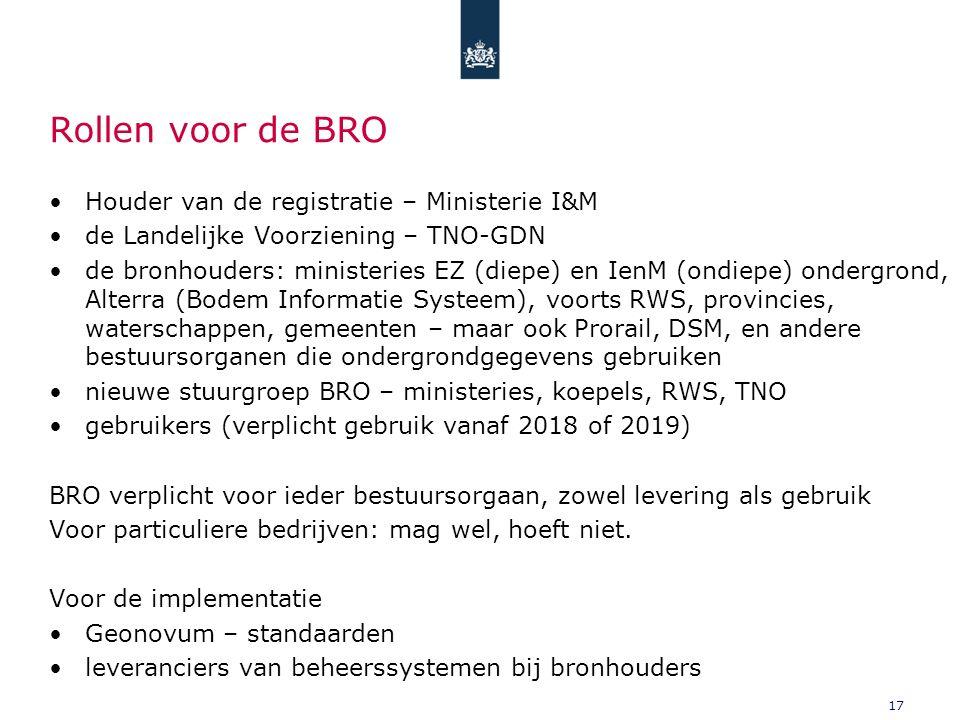 17 Rollen voor de BRO Houder van de registratie – Ministerie I&M de Landelijke Voorziening – TNO-GDN de bronhouders: ministeries EZ (diepe) en IenM (ondiepe) ondergrond, Alterra (Bodem Informatie Systeem), voorts RWS, provincies, waterschappen, gemeenten – maar ook Prorail, DSM, en andere bestuursorganen die ondergrondgegevens gebruiken nieuwe stuurgroep BRO – ministeries, koepels, RWS, TNO gebruikers (verplicht gebruik vanaf 2018 of 2019) BRO verplicht voor ieder bestuursorgaan, zowel levering als gebruik Voor particuliere bedrijven: mag wel, hoeft niet.