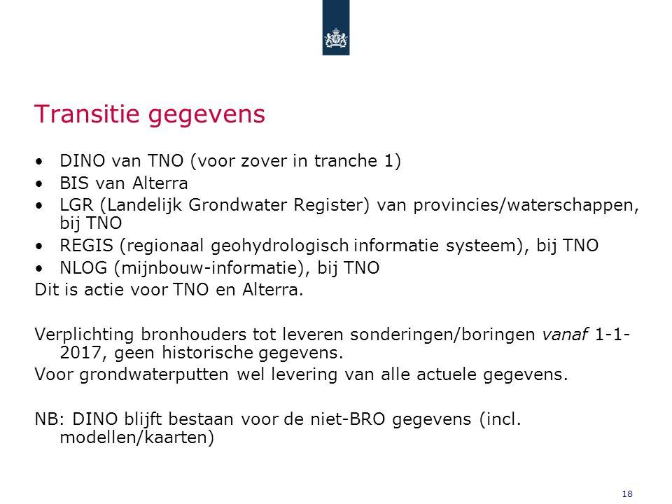 18 Transitie gegevens DINO van TNO (voor zover in tranche 1) BIS van Alterra LGR (Landelijk Grondwater Register) van provincies/waterschappen, bij TNO REGIS (regionaal geohydrologisch informatie systeem), bij TNO NLOG (mijnbouw-informatie), bij TNO Dit is actie voor TNO en Alterra.