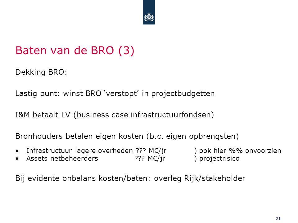 Baten van de BRO (3) Dekking BRO: Lastig punt: winst BRO 'verstopt' in projectbudgetten I&M betaalt LV (business case infrastructuurfondsen) Bronhouders betalen eigen kosten (b.c.
