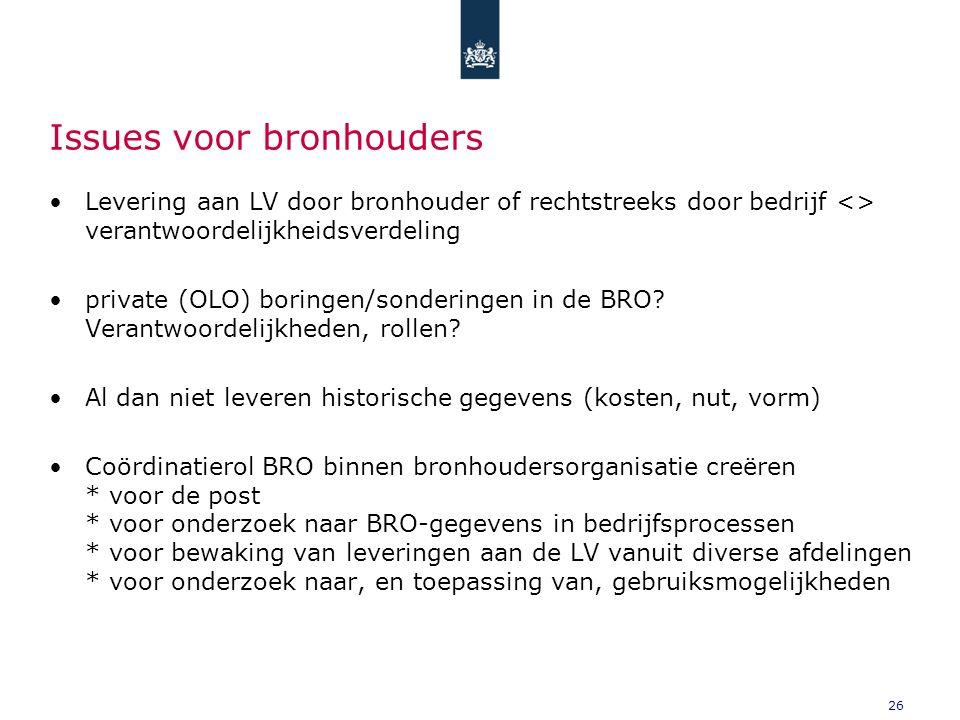 26 Issues voor bronhouders Levering aan LV door bronhouder of rechtstreeks door bedrijf <> verantwoordelijkheidsverdeling private (OLO) boringen/sonderingen in de BRO.
