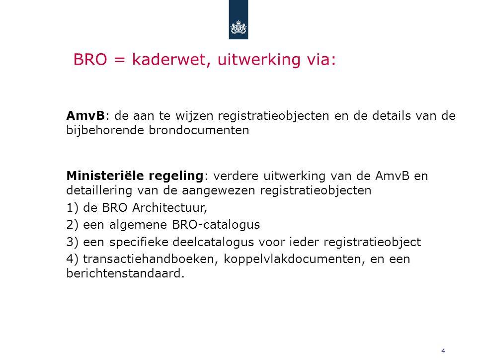 4 BRO = kaderwet, uitwerking via: AmvB: de aan te wijzen registratieobjecten en de details van de bijbehorende brondocumenten Ministeriële regeling: verdere uitwerking van de AmvB en detaillering van de aangewezen registratieobjecten 1) de BRO Architectuur, 2) een algemene BRO-catalogus 3) een specifieke deelcatalogus voor ieder registratieobject 4) transactiehandboeken, koppelvlakdocumenten, en een berichtenstandaard.