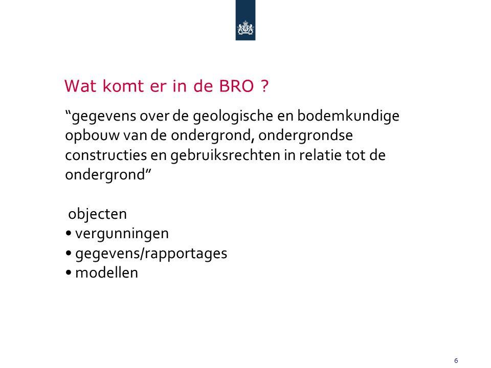 7 Let op: de BRO is niet de registratie van DE ondergrond Geen: -kabels en leidingen (WION & KLIC-WIN) -ondergrondse topografie (BAG/BGT, BIM, BOR) -explosieven Thans niet voorzien in tranches 1-3 -milieuverontreinigingen (BIDON) -archeologie (ARCHIS)