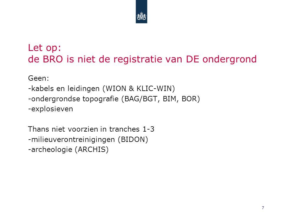 8 BRO tranches 1, 2 en 3 4 categorieën, 6 domeinen, 26 registratieobjecten