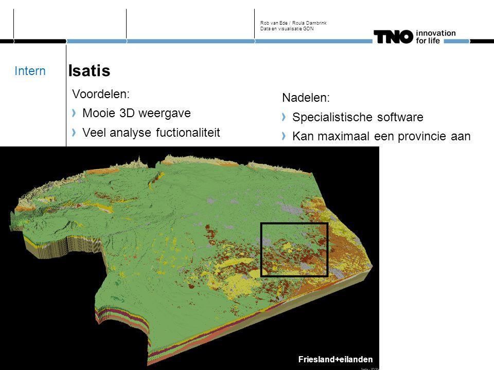 Isatis Voordelen: Mooie 3D weergave Veel analyse fuctionaliteit Rob van Ede / Roula Dambrink Data en visualisatie GDN Friesland+eilanden Nadelen: Specialistische software Kan maximaal een provincie aan Intern