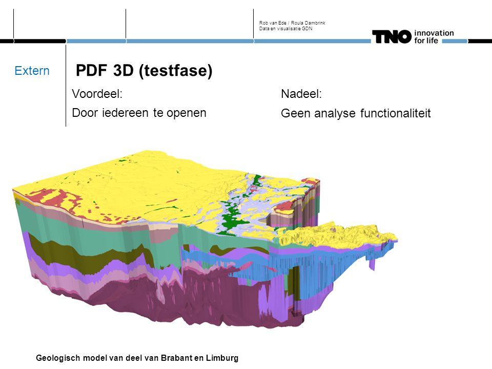 PDF 3D (testfase) Rob van Ede / Roula Dambrink Data en visualisatie GDN Voordeel: Door iedereen te openen Nadeel: Geen analyse functionaliteit Geologisch model van deel van Brabant en Limburg Extern