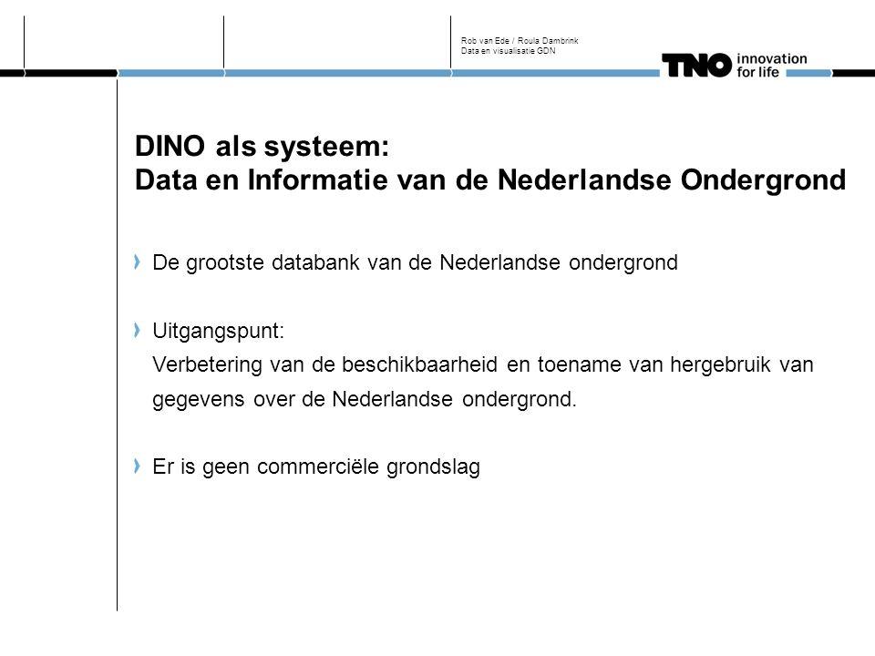 DINO als systeem: Data en Informatie van de Nederlandse Ondergrond De grootste databank van de Nederlandse ondergrond Uitgangspunt: Verbetering van de beschikbaarheid en toename van hergebruik van gegevens over de Nederlandse ondergrond.