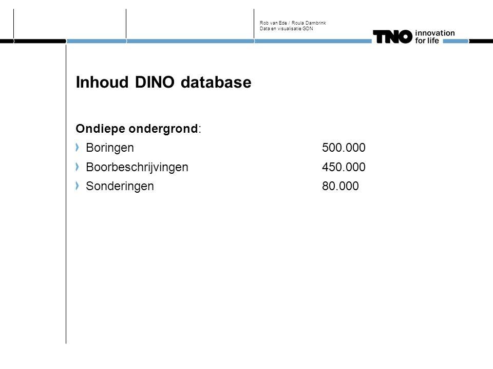 Inhoud DINO database Ondiepe ondergrond: Boringen500.000 Boorbeschrijvingen450.000 Sonderingen80.000 Rob van Ede / Roula Dambrink Data en visualisatie GDN