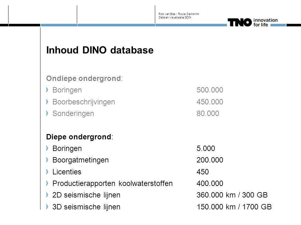 Inhoud DINO database Ondiepe ondergrond: Boringen500.000 Boorbeschrijvingen450.000 Sonderingen80.000 Diepe ondergrond: Boringen5.000 Boorgatmetingen200.000 Licenties450 Productierapporten koolwaterstoffen400.000 2D seismische lijnen360.000 km / 300 GB 3D seismische lijnen150.000 km / 1700 GB Rob van Ede / Roula Dambrink Data en visualisatie GDN