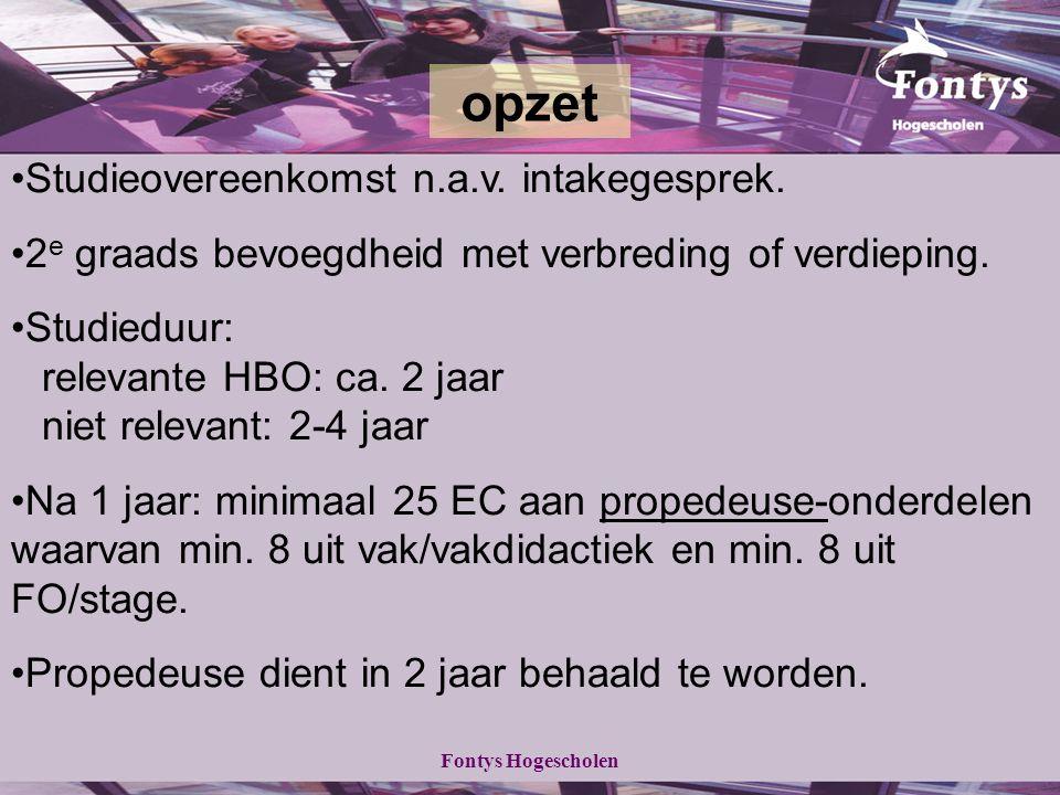 Fontys Hogescholen Studieovereenkomst n.a.v. intakegesprek.
