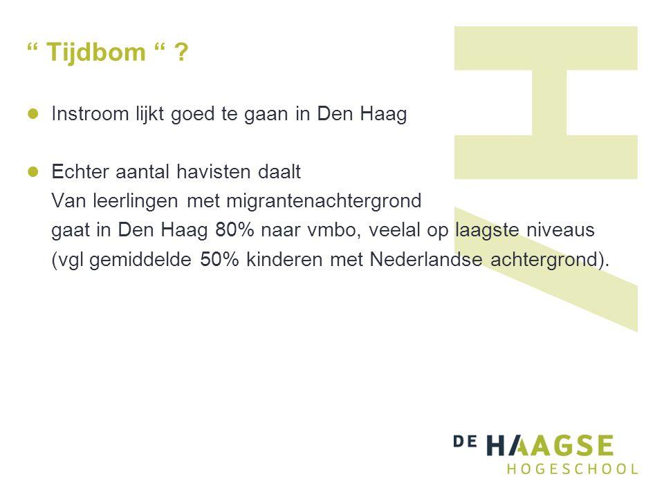 """"""" Tijdbom """" ? Instroom lijkt goed te gaan in Den Haag Echter aantal havisten daalt Van leerlingen met migrantenachtergrond gaat in Den Haag 80% naar v"""