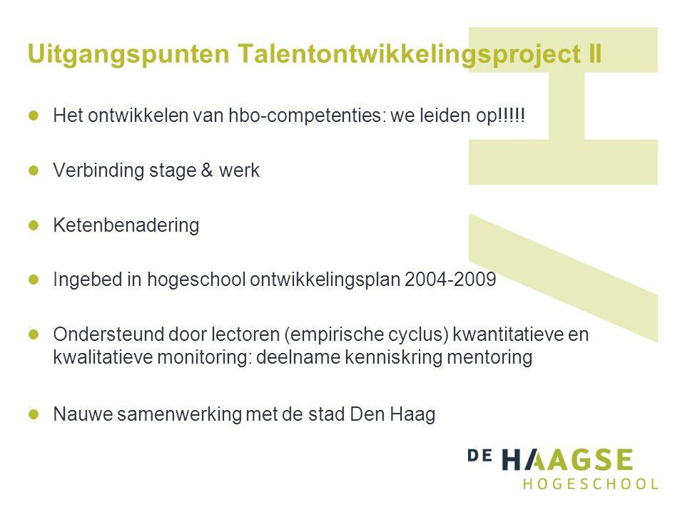 Uitgangspunten Talentontwikkelingsproject II Het ontwikkelen van hbo-competenties: we leiden op!!!!! Verbinding stage & werk Ketenbenadering Ingebed i