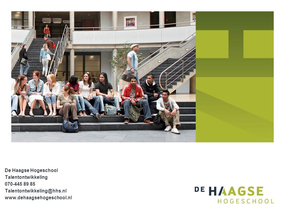 De Haagse Hogeschool Talentontwikkeling 070-445 89 85 Talentontwikkeling@hhs.nl www.dehaagsehogeschool.nl