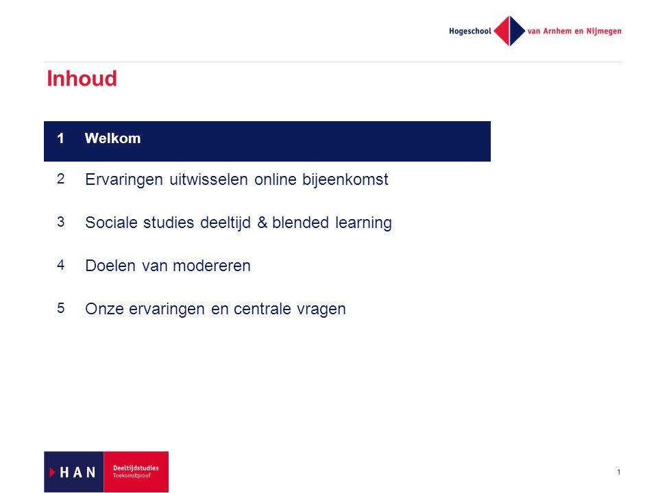 Inhoud 1 1Welkom 2 Ervaringen uitwisselen online bijeenkomst 3 Sociale studies deeltijd & blended learning 4 Doelen van modereren 5 Onze ervaringen en centrale vragen