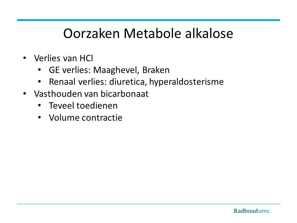 Oorzaken Metabole alkalose Verlies van HCl GE verlies: Maaghevel, Braken Renaal verlies: diuretica, hyperaldosterisme Vasthouden van bicarbonaat Teveel toedienen Volume contractie