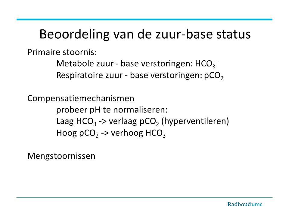 Beoordeling van de zuur-base status Primaire stoornis: Metabole zuur - base verstoringen: HCO 3 - Respiratoire zuur - base verstoringen: pCO 2 Compensatiemechanismen probeer pH te normaliseren: Laag HCO 3 -> verlaag pCO 2 (hyperventileren) Hoog pCO 2 -> verhoog HCO 3 Mengstoornissen