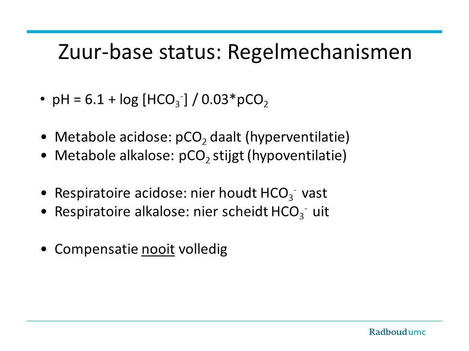 Zuur-base status: Regelmechanismen pH = 6.1 + log [HCO 3 - ] / 0.03*pCO 2 Metabole acidose: pCO 2 daalt (hyperventilatie) Metabole alkalose: pCO 2 stijgt (hypoventilatie) Respiratoire acidose: nier houdt HCO 3 - vast Respiratoire alkalose: nier scheidt HCO 3 - uit Compensatie nooit volledig