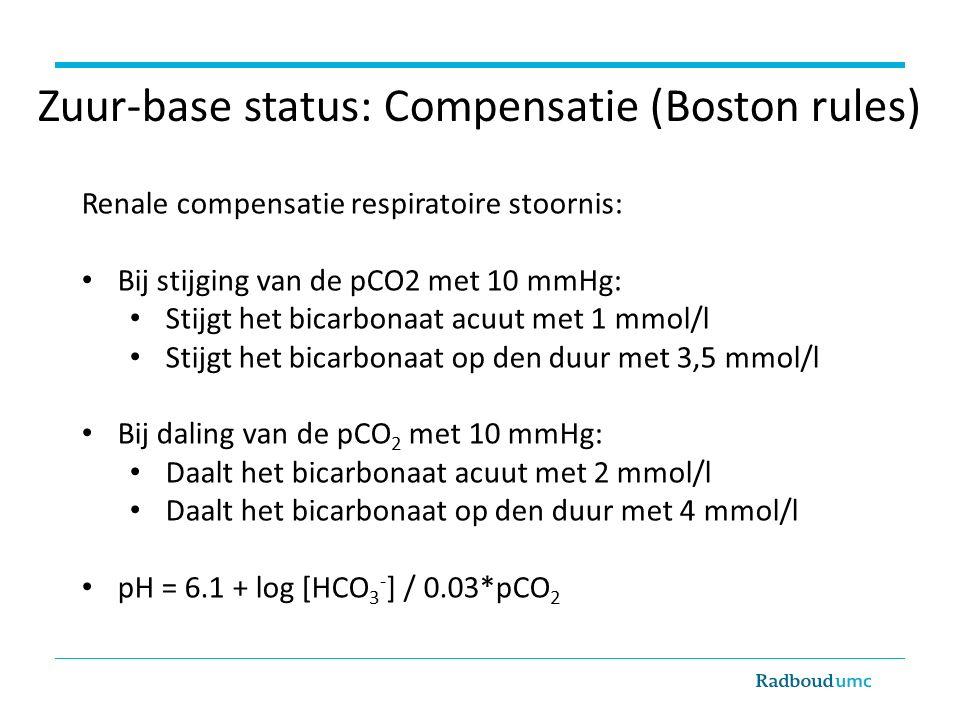 Zuur-base status: Compensatie (Boston rules) Renale compensatie respiratoire stoornis: Bij stijging van de pCO2 met 10 mmHg: Stijgt het bicarbonaat acuut met 1 mmol/l Stijgt het bicarbonaat op den duur met 3,5 mmol/l Bij daling van de pCO 2 met 10 mmHg: Daalt het bicarbonaat acuut met 2 mmol/l Daalt het bicarbonaat op den duur met 4 mmol/l pH = 6.1 + log [HCO 3 - ] / 0.03*pCO 2