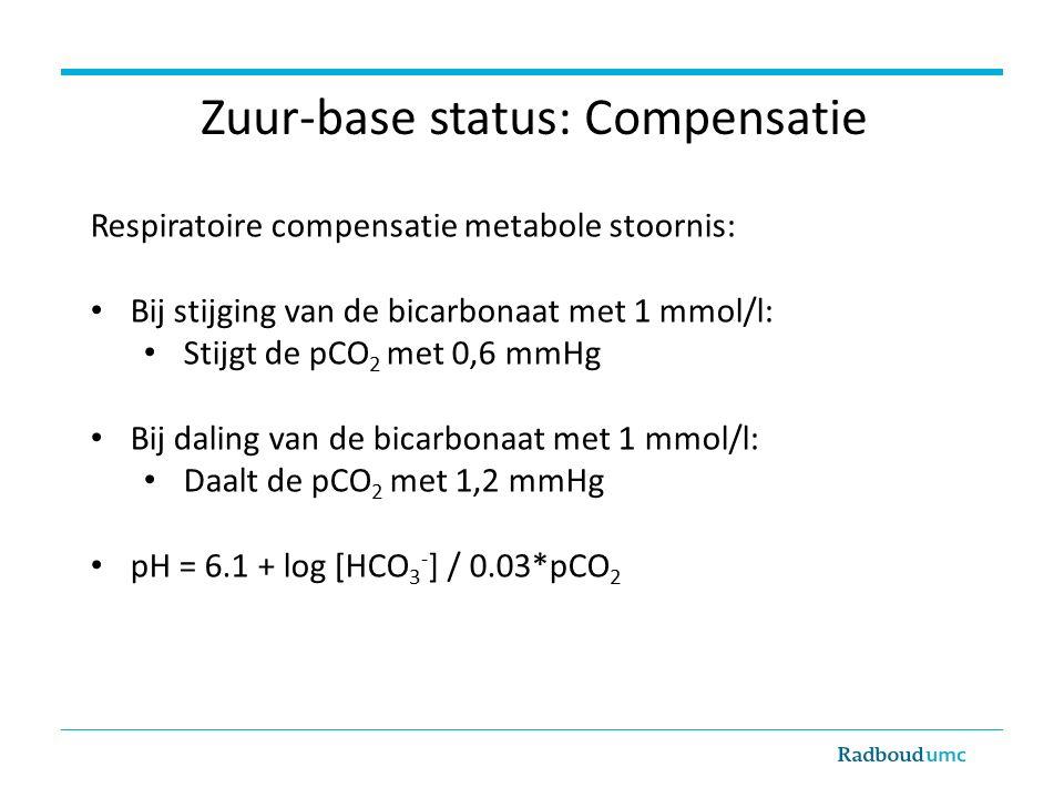 Zuur-base status: Compensatie Respiratoire compensatie metabole stoornis: Bij stijging van de bicarbonaat met 1 mmol/l: Stijgt de pCO 2 met 0,6 mmHg Bij daling van de bicarbonaat met 1 mmol/l: Daalt de pCO 2 met 1,2 mmHg pH = 6.1 + log [HCO 3 - ] / 0.03*pCO 2