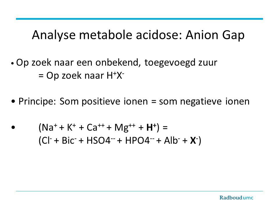 Op zoek naar een onbekend, toegevoegd zuur = Op zoek naar H + X - Principe: Som positieve ionen = som negatieve ionen (Na + + K + + Ca ++ + Mg ++ + H + ) = (Cl - + Bic - + HSO4 -- + HPO4 -- + Alb - + X - ) Analyse metabole acidose: Anion Gap