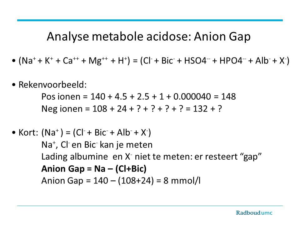 (Na + + K + + Ca ++ + Mg ++ + H + ) = (Cl - + Bic - + HSO4 -- + HPO4 -- + Alb - + X - ) Rekenvoorbeeld: Pos ionen = 140 + 4.5 + 2.5 + 1 + 0.000040 = 148 Neg ionen = 108 + 24 + .