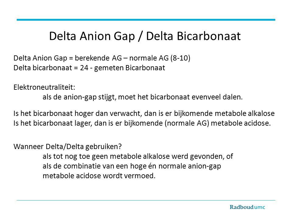 Delta Anion Gap / Delta Bicarbonaat Delta Anion Gap = berekende AG – normale AG (8-10) Delta bicarbonaat = 24 - gemeten Bicarbonaat Elektroneutraliteit: als de anion-gap stijgt, moet het bicarbonaat evenveel dalen.