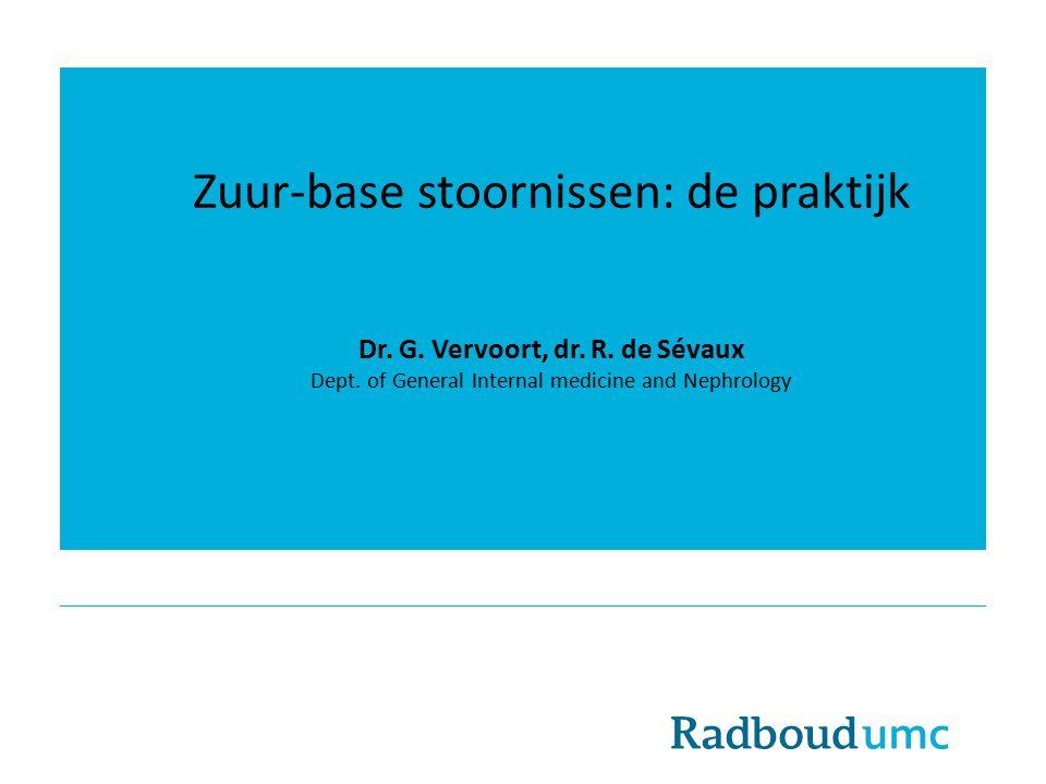 Zuur-base stoornissen: de praktijk Dr.G. Vervoort, dr.