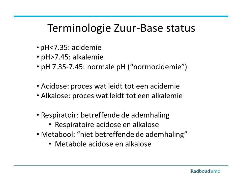 Terminologie Zuur-Base status pH<7.35: acidemie pH>7.45: alkalemie pH 7.35-7.45: normale pH ( normocidemie ) Acidose: proces wat leidt tot een acidemie Alkalose: proces wat leidt tot een alkalemie Respiratoir: betreffende de ademhaling Respiratoire acidose en alkalose Metabool: niet betreffende de ademhaling Metabole acidose en alkalose