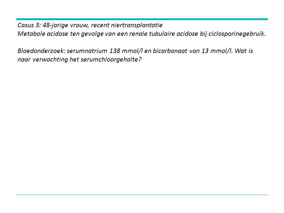 Casus 3: 48-jarige vrouw, recent niertransplantatie Metabole acidose ten gevolge van een renale tubulaire acidose bij ciclosporinegebruik.