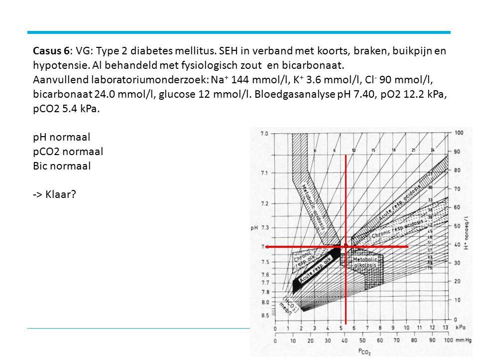 Casus 6: VG: Type 2 diabetes mellitus.SEH in verband met koorts, braken, buikpijn en hypotensie.