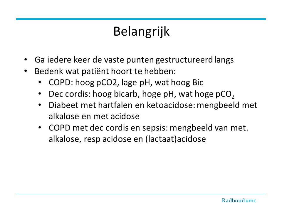 Belangrijk Ga iedere keer de vaste punten gestructureerd langs Bedenk wat patiënt hoort te hebben: COPD: hoog pCO2, lage pH, wat hoog Bic Dec cordis: hoog bicarb, hoge pH, wat hoge pCO 2 Diabeet met hartfalen en ketoacidose: mengbeeld met alkalose en met acidose COPD met dec cordis en sepsis: mengbeeld van met.