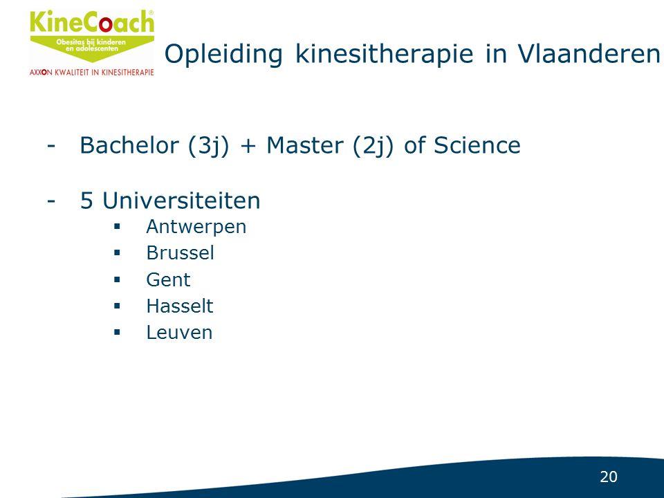 20 Opleiding kinesitherapie in Vlaanderen -Bachelor (3j) + Master (2j) of Science -5 Universiteiten  Antwerpen  Brussel  Gent  Hasselt  Leuven