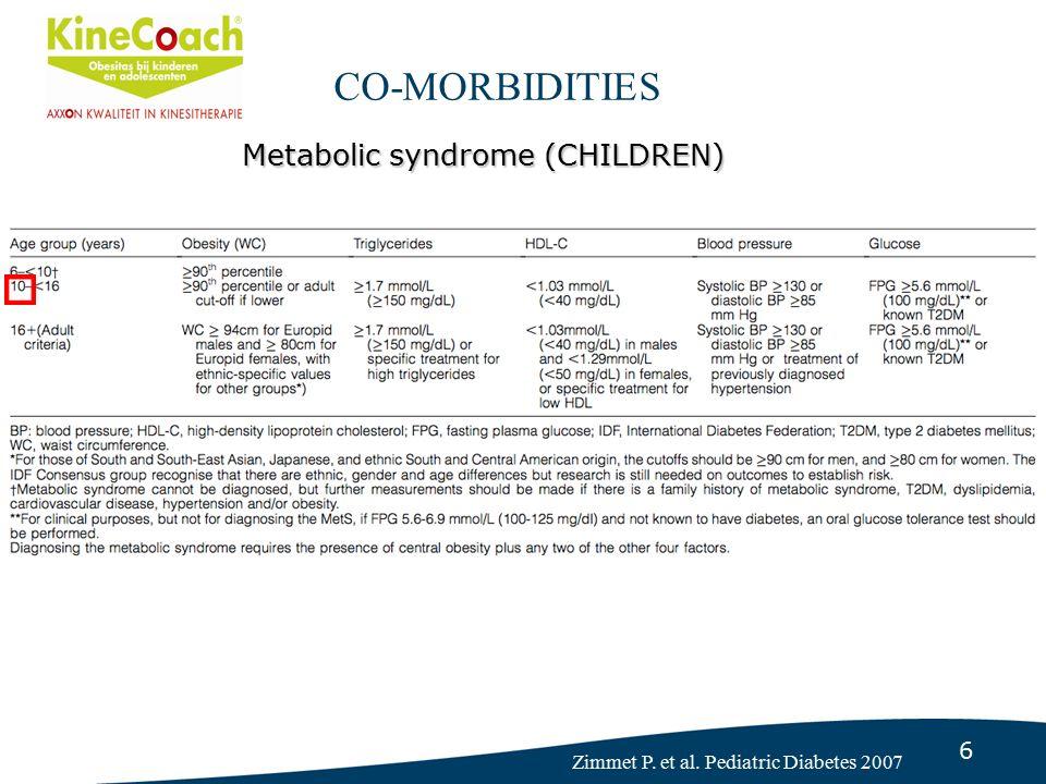 7 Waist Circumference – cut-offs CHILDREN Fredriks AM, et al. Eur J Pediatr. 2005 CO-MORBIDITIES