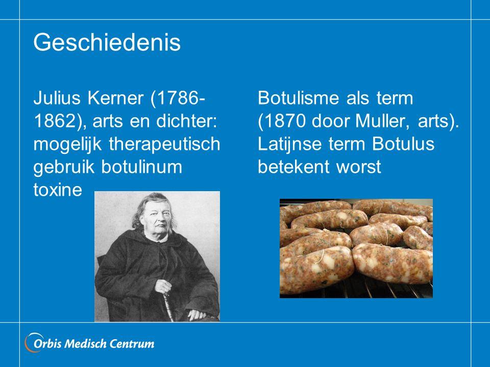 Geschiedenis Julius Kerner (1786- 1862), arts en dichter: mogelijk therapeutisch gebruik botulinum toxine Botulisme als term (1870 door Muller, arts).