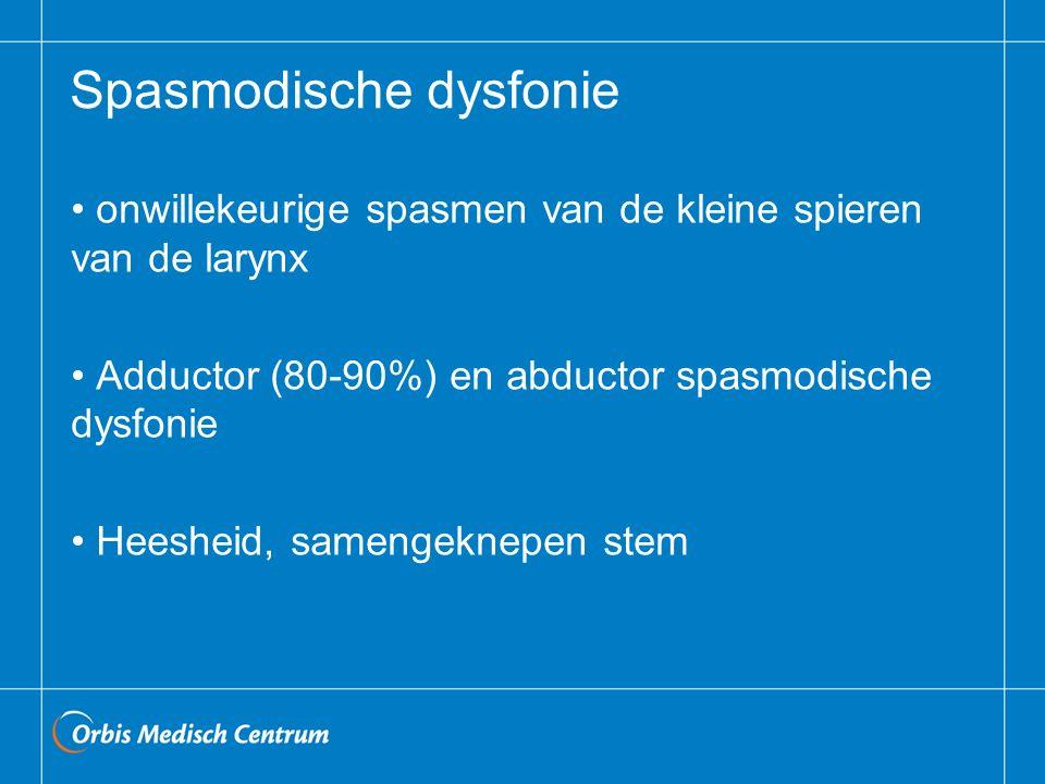 Spasmodische dysfonie onwillekeurige spasmen van de kleine spieren van de larynx Adductor (80-90%) en abductor spasmodische dysfonie Heesheid, samengeknepen stem