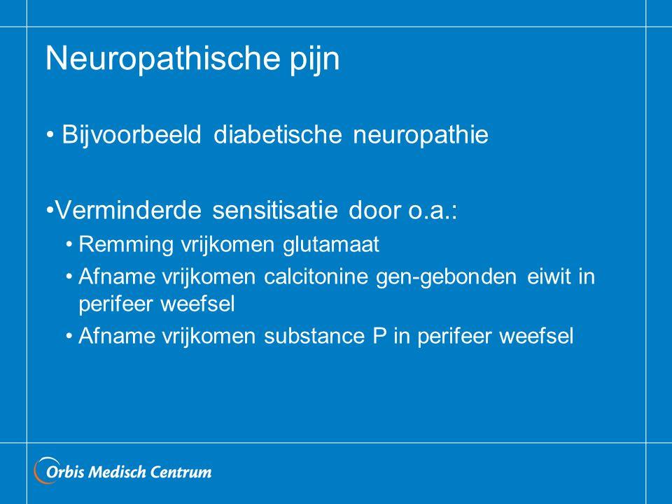 Neuropathische pijn Bijvoorbeeld diabetische neuropathie Verminderde sensitisatie door o.a.: Remming vrijkomen glutamaat Afname vrijkomen calcitonine gen-gebonden eiwit in perifeer weefsel Afname vrijkomen substance P in perifeer weefsel