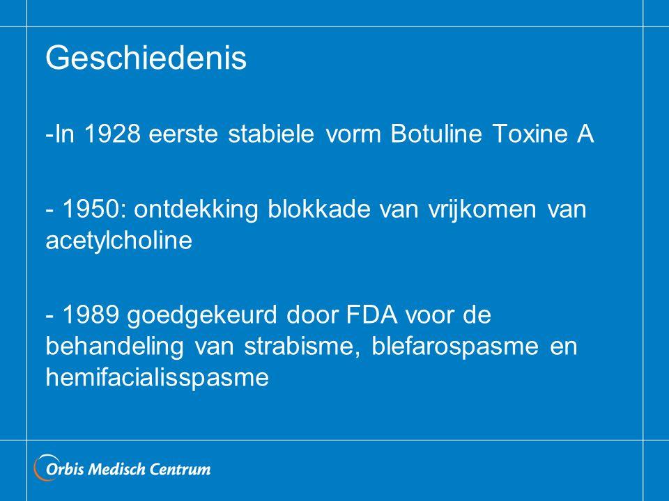 Geschiedenis -In 1928 eerste stabiele vorm Botuline Toxine A - 1950: ontdekking blokkade van vrijkomen van acetylcholine - 1989 goedgekeurd door FDA voor de behandeling van strabisme, blefarospasme en hemifacialisspasme