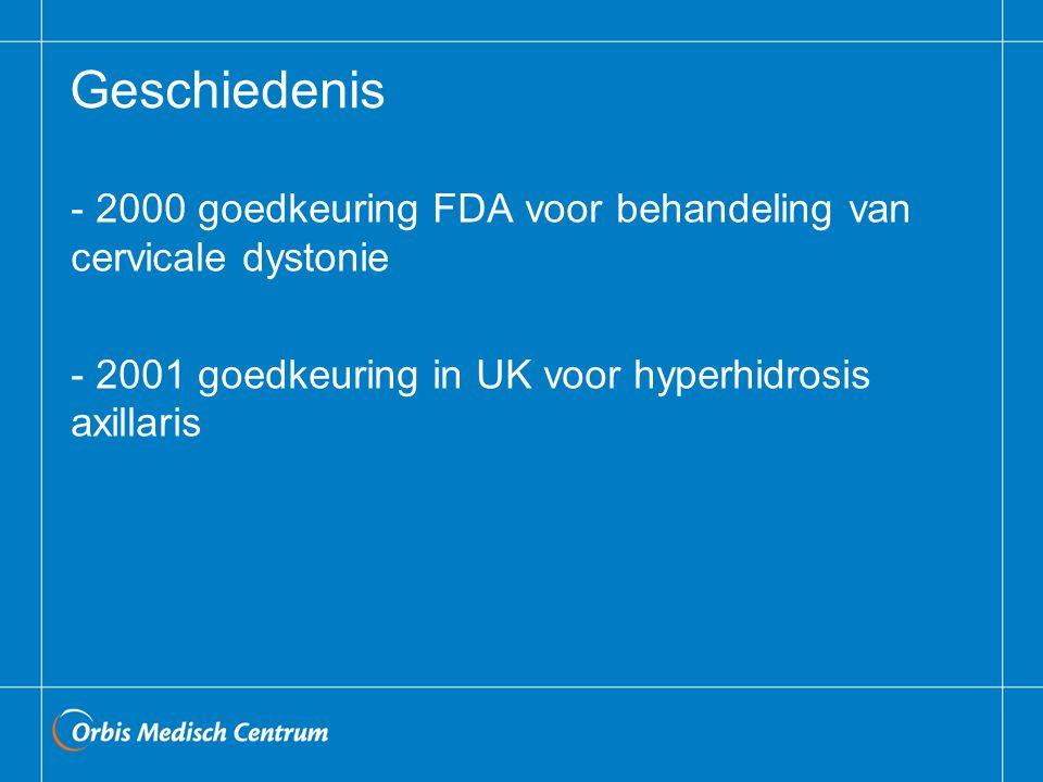 Geschiedenis - 2000 goedkeuring FDA voor behandeling van cervicale dystonie - 2001 goedkeuring in UK voor hyperhidrosis axillaris