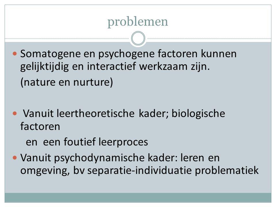 problemen Somatogene en psychogene factoren kunnen gelijktijdig en interactief werkzaam zijn.