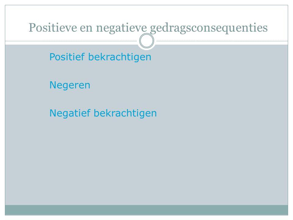 Positieve en negatieve gedragsconsequenties Positief bekrachtigen Negeren Negatief bekrachtigen