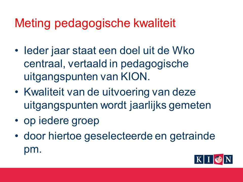 Meting pedagogische kwaliteit Ieder jaar staat een doel uit de Wko centraal, vertaald in pedagogische uitgangspunten van KION.